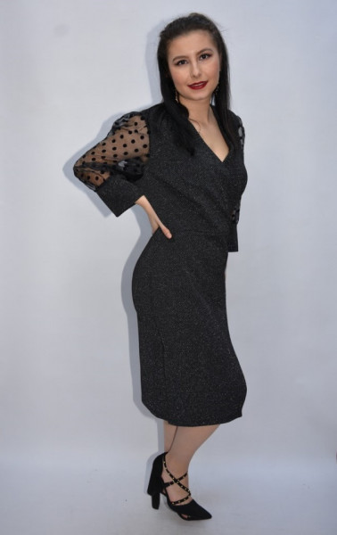 Rochie de ocazie Seline cu maneci bufante si nasturi,neagra