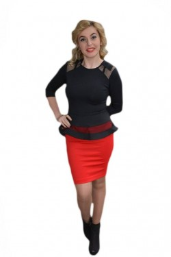 Poze Rochie de ocazie tip costum cu peplum, culoare negru cu rosu