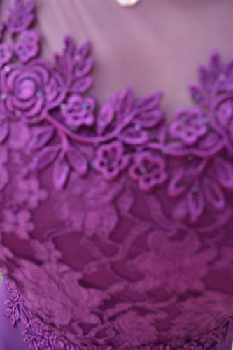 Rochie de seara din voal si dantela, culoare mov