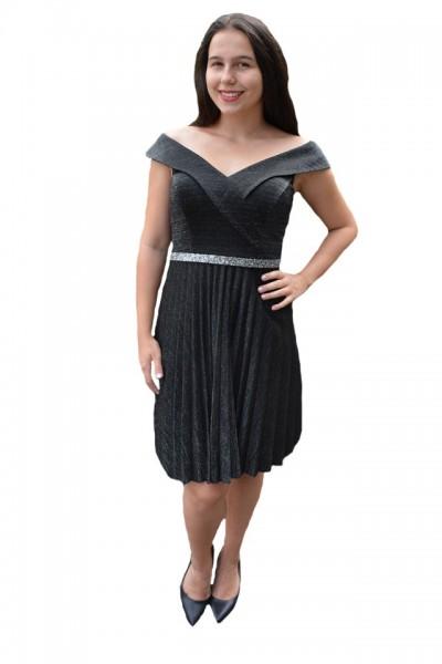Poze Rochie eleganta Aisha plisata,nuanta de negru