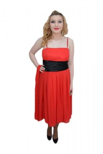 Poze Rochie eleganta, de lungime medie, din voal, culoare rosie