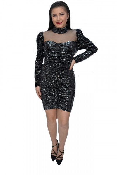 Poze Rochie eleganta Ginette cu insertii de paiete,negru-argintiu