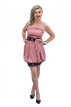 Poze Rochie eleganta, tip gogosar, din saten roz