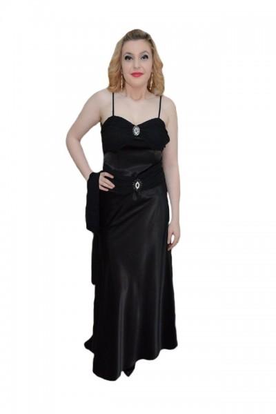 Poze Rochie fashion de nuanta neagra, cu bretele subtiri in spate