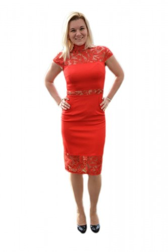 Poze Rochie fashion de ocazie, culoare rosie, cu insertii de dantela