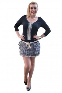 Poze Rochie feminina , casual , midi, combinatii de negru cu gri