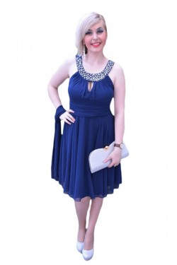 Poze Rochie fina de culoare bleumarin, model scurt de gala, din voal