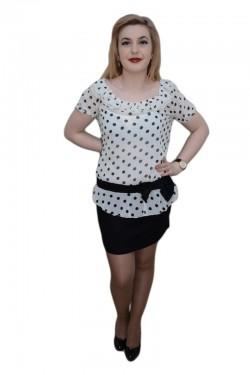 Poze Rochie in nuante de negru si alb, design de buline