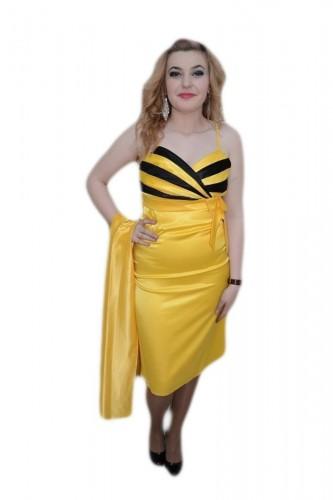 Poze Rochie mulata, nuanta de galben, decolteu rafinat in V