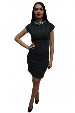 Poze Rochie trendy din material cu aspect tricotat gri si design de perle