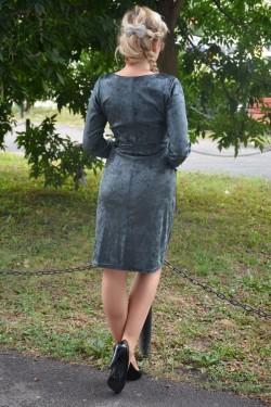 Rochie verde inchis cu aspect de catifea cu model negru lucios