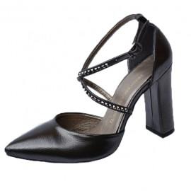 Poze Sandale elegante negru sidef cu barete si strassuri