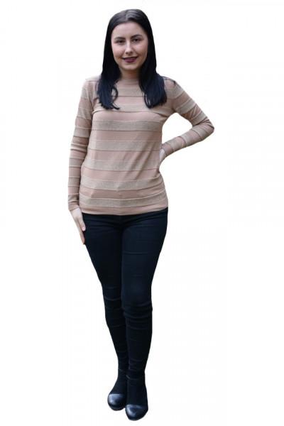 Poze Bluza casual Carina ,model cu sclipici,maro