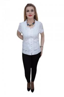 Bluza cu maneca scurta, nuanta de alb, design floral