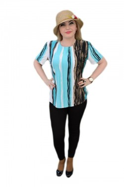 Poze Bluza cu maneca scurta, nuante alb-albastru-negru