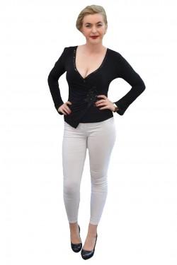 Poze Bluza de ocazie de culoare neagra, croi asimetric, maneca lunga