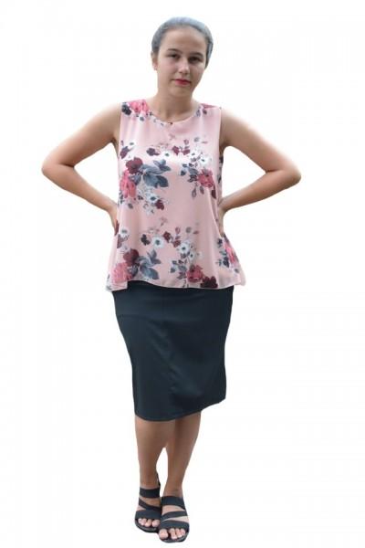 Poze Bluza de vara tip maieu,Florice din voal ,imprimeu flower,motive rose ,nuanta de pudra
