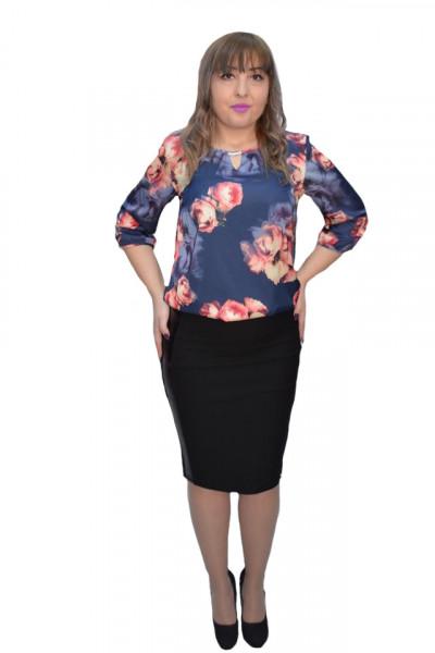 Poze Bluza eleganta Crisa ,imprimeu cu motive tip rose ,nuanta de bleumarin