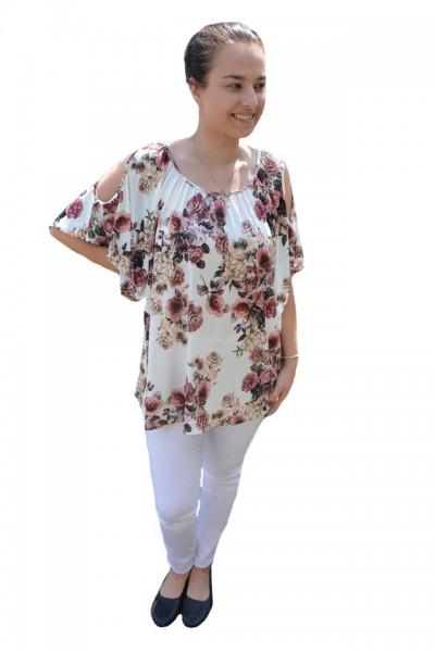 Poze Bluza lejera Mira cu imprimeu floral,motive mini rose si decupaj la umeri,nuanta de alb