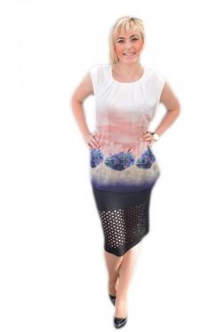 Poze Bluza rafinata de zi cu croi drept, fara maneci, design multicolor