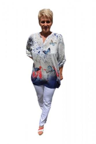 Poze Bluza rafinata,design de nasturi, alba cu model de fluturi