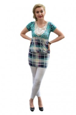 Poze Bluza trendy cu dantela, elastic in talie si imprimeu turcoaz