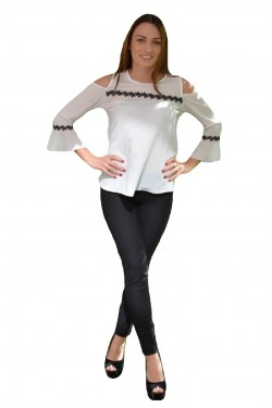 Poze Bluza trendy de ocazie, model tineresc cu design negru pe fond alb