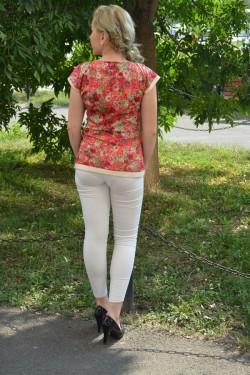Bluze cu maneca scurta, din saten multicolore