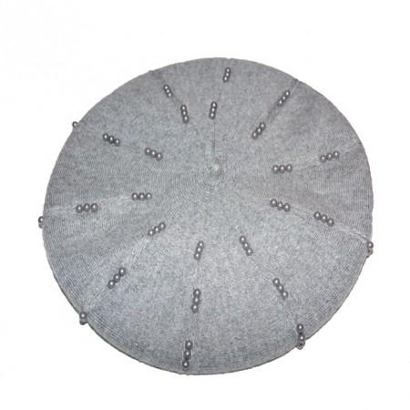 Caciula rafinata cu design de perla, nuanta de gri