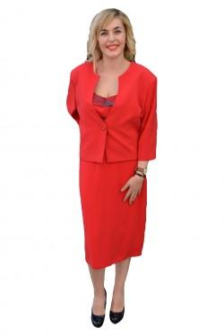 Poze Costum deosebit, pentru ocazii speciale, in nuante de maro, rosu