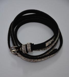 Curea ingusta de dama, material negru flexibil cu cristale argintii