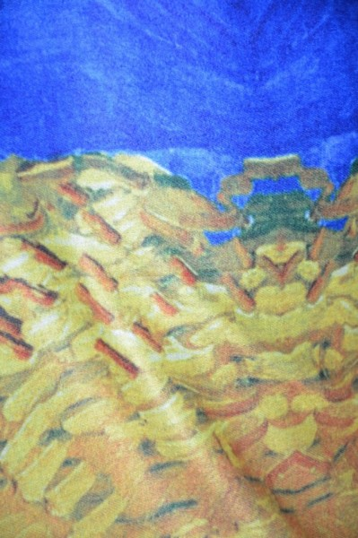 Esarfa tip sal Henna ,imprimeu painted ,bleumarin-rosu-galben