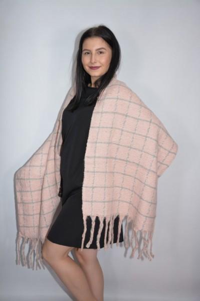Fular dama Dalma ,model cu patratele,pudra
