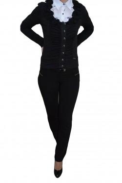 Poze Pantalon cu buzunare apretate, nuanta de negru, fermoar chic