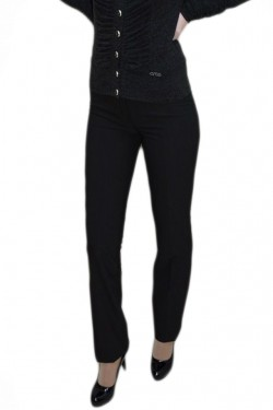 Poze Pantalon din stofa fina, nuanta de negru, buzunare apretate