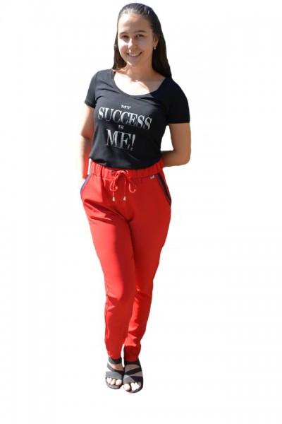 Poze Pantaloni lejeri lungi,model cu strasuri la buzunar,nuanta de rosu