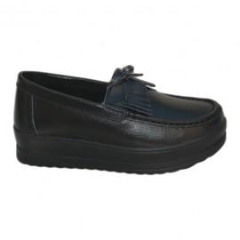 Pantof de dama cu aspect clasic tip mocasin, de culoare neagra