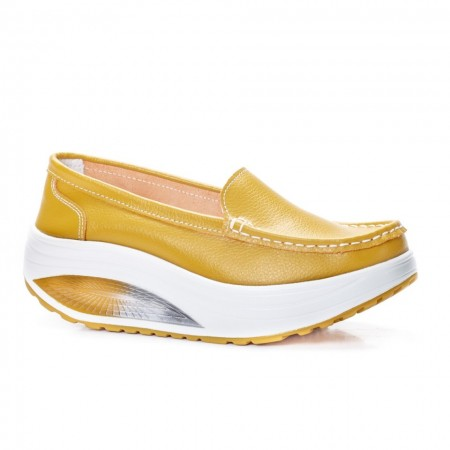 Poze Pantofi dama Avelia sport cu talpa ortopedica,nuanta de galben