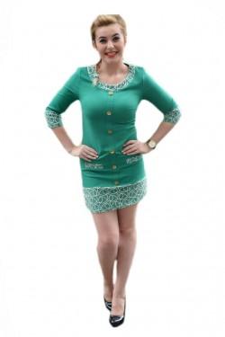 Poze Rochie casual, model scurt, pe turcoaz, cu insertii broderie alba si nasturi