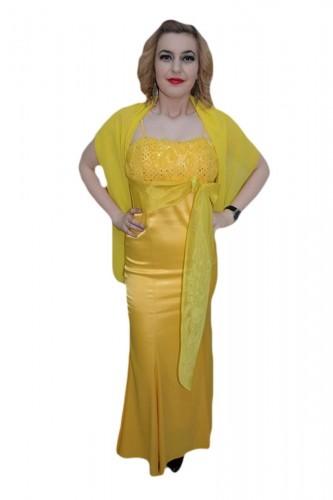 Poze Rochie cu bretele rafinate, nuanta galben, saten lucios