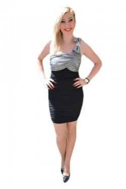 Rochie de club, deosebita one-shoulder, culoare negru-argintiu