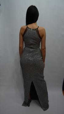 Rochie de ocazie, model lung cu design de paiete mici, argintie