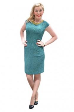 Rochie de seara de culoare verde inchis, cu paiete si sclipici