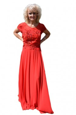 Poze Rochie de seara lunga de culoare rosie, cu broderie florala 3D