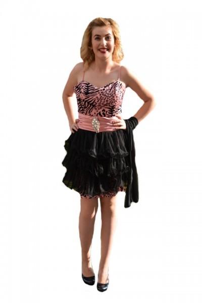 Poze Rochie de seara scurta, animal-print, o parte detasabilla, roz cu negru