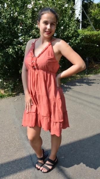 Rochie de vara din bumbac, Emine, model cu broderie in partea de jos, nuanta marsala