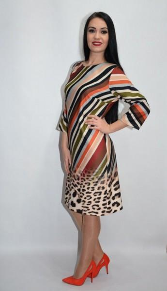 Rochie de zi cu dungi verticale,nuanta maro