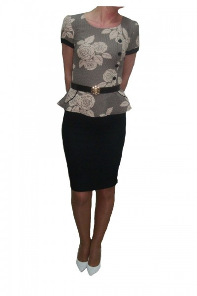 Poze Rochie eleganta, design tip costumas, neagra cu imprimeu crem