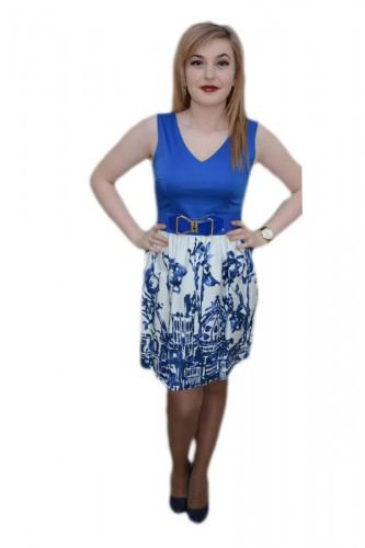Rochie eleganta, nuanta de albastru, imprimeu abstract