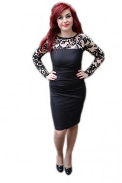 Poze Rochie eleganta, nuanta de negru, dantela fashion aplicata
